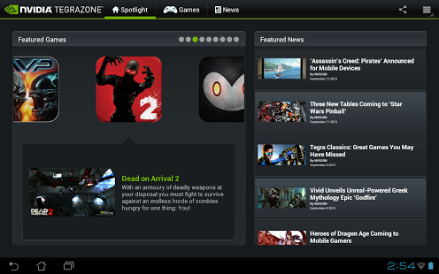 Screen shot of tegra zone on play store